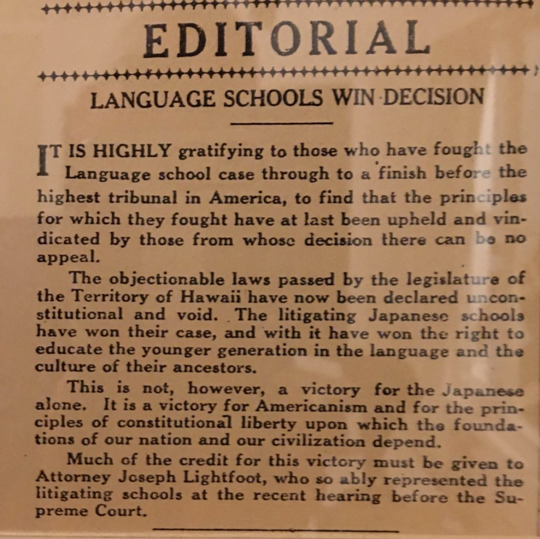 Newspaper Editorial on US Supreme Court Decision