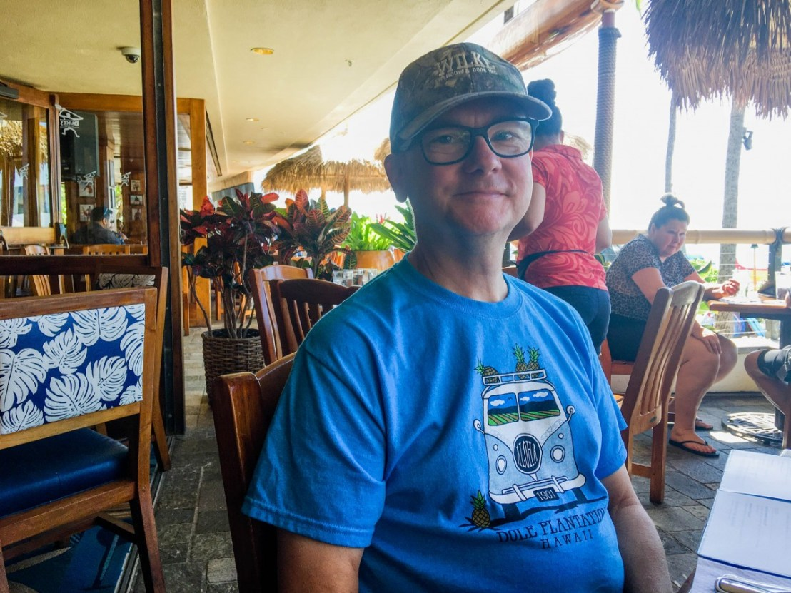 Larry In Duke's Restaurant Wearing His New Pineapple Themed T-Shirt From The Dole Plantation