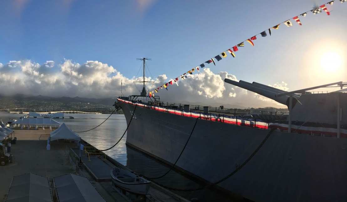 Gangplank View of USS Missouri Bow And Guns And USS Arizona Memorial