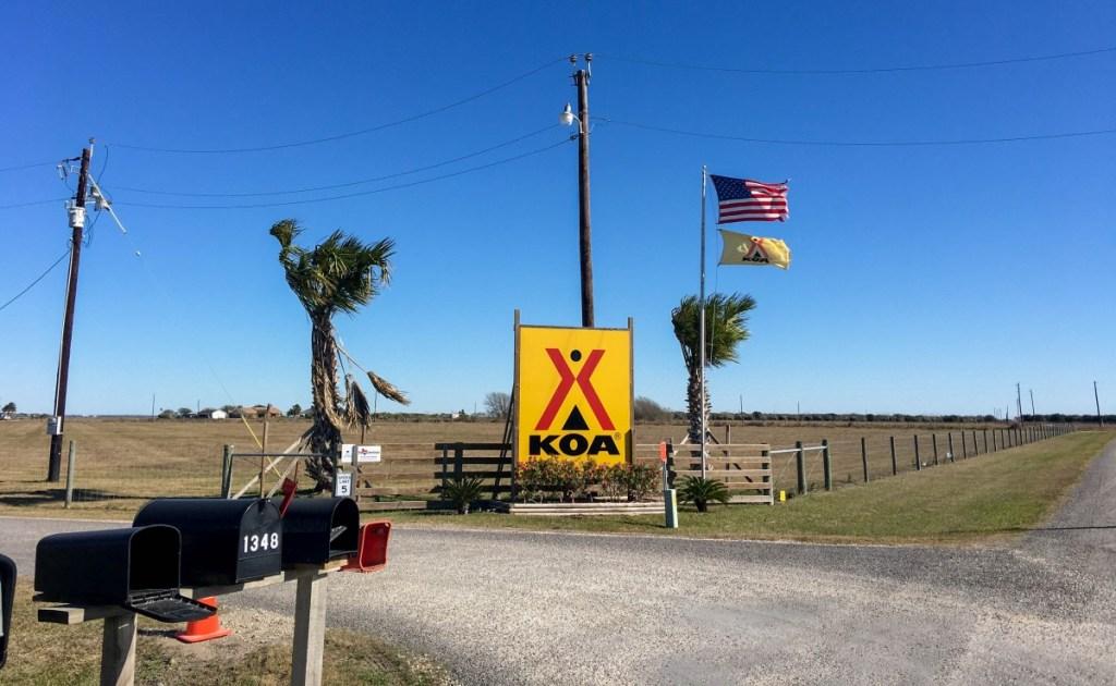 KOA Entrance Flags Flying Freely