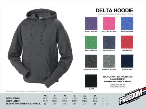 Delta Hoodie - Freedom stock colors 2015