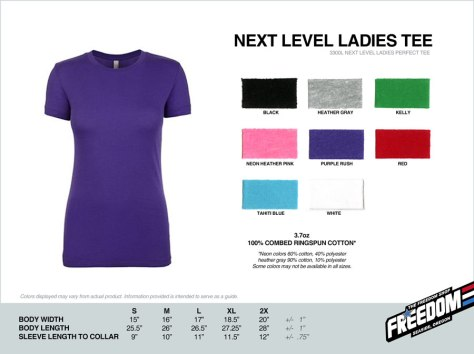 Next Level Ladies T-shirt - Freedom stock colors 2015