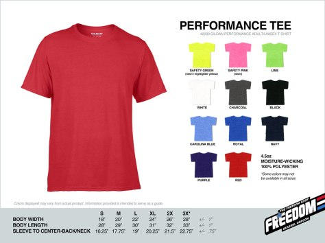 Performance T-shirt - Freedom stock colors 2015