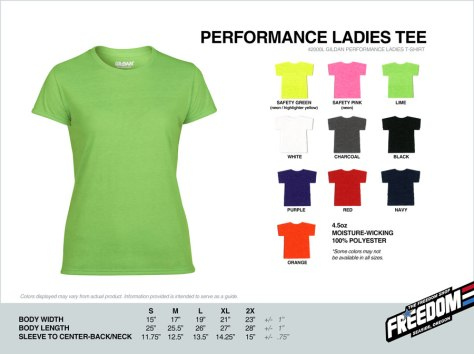 Ladies Performance T-shirt - Freedom stock colors 2015