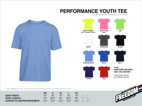 Youth Performance T-shirt - Freedom stock colors 2015
