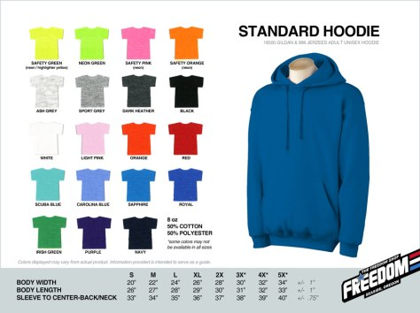 Standard Hoodie - Freedom stock colors 2015