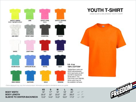 Youth T-shirt - Freedom stock colors 2015