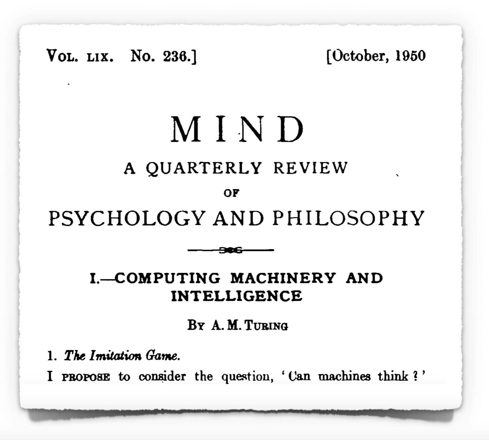 turing 1948 essay intelligent machinery Genetic programming: turing's third way to  in his 1948 essay intelligent machines [9],  implement turing's third way to achieve machine intelligence.