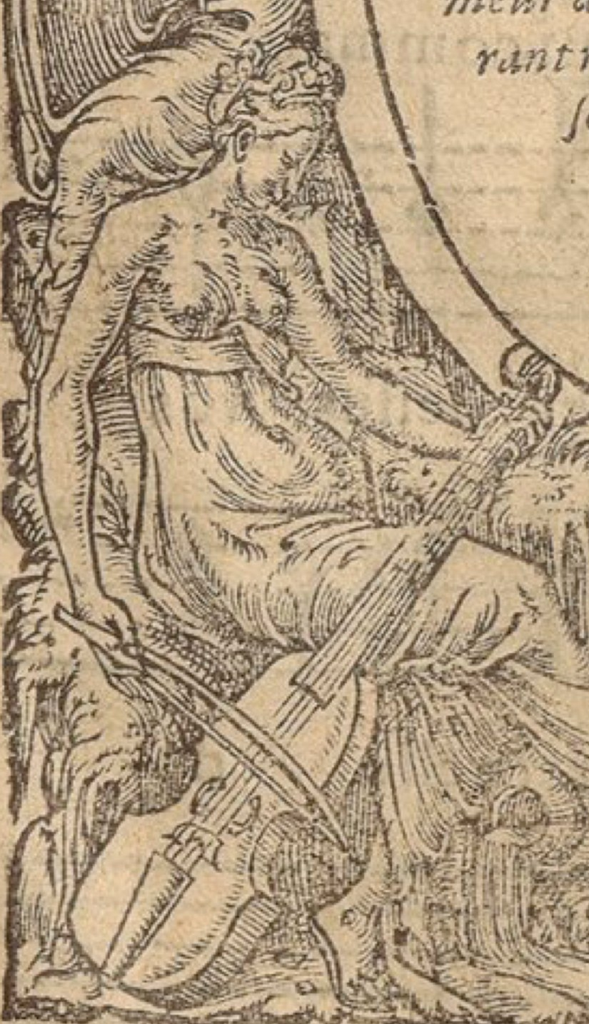Woman or muse playing viol on frontispiece.