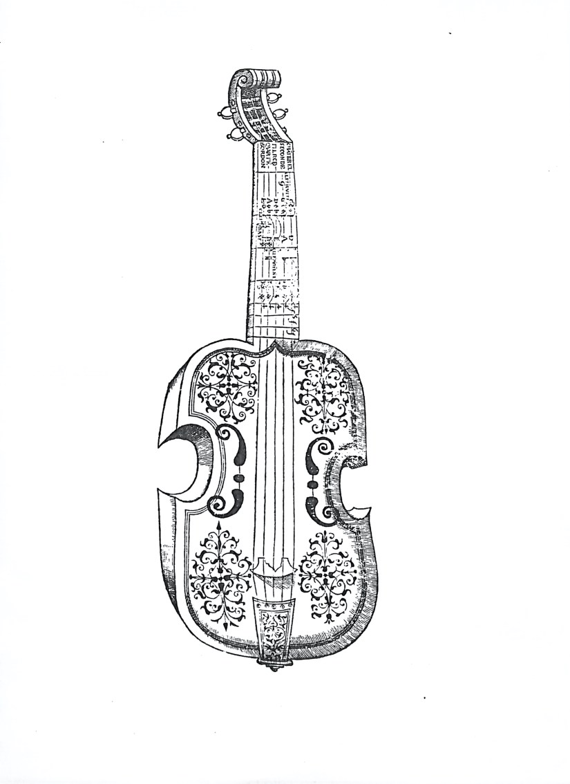 A five string French viol as illustrated in Jambe de Fer and Mersenne.