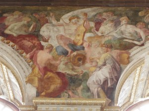 Apollon et les Muses sur le Parnasse. Fresco in la Salle de Bal at the Château de Fontainebleau.