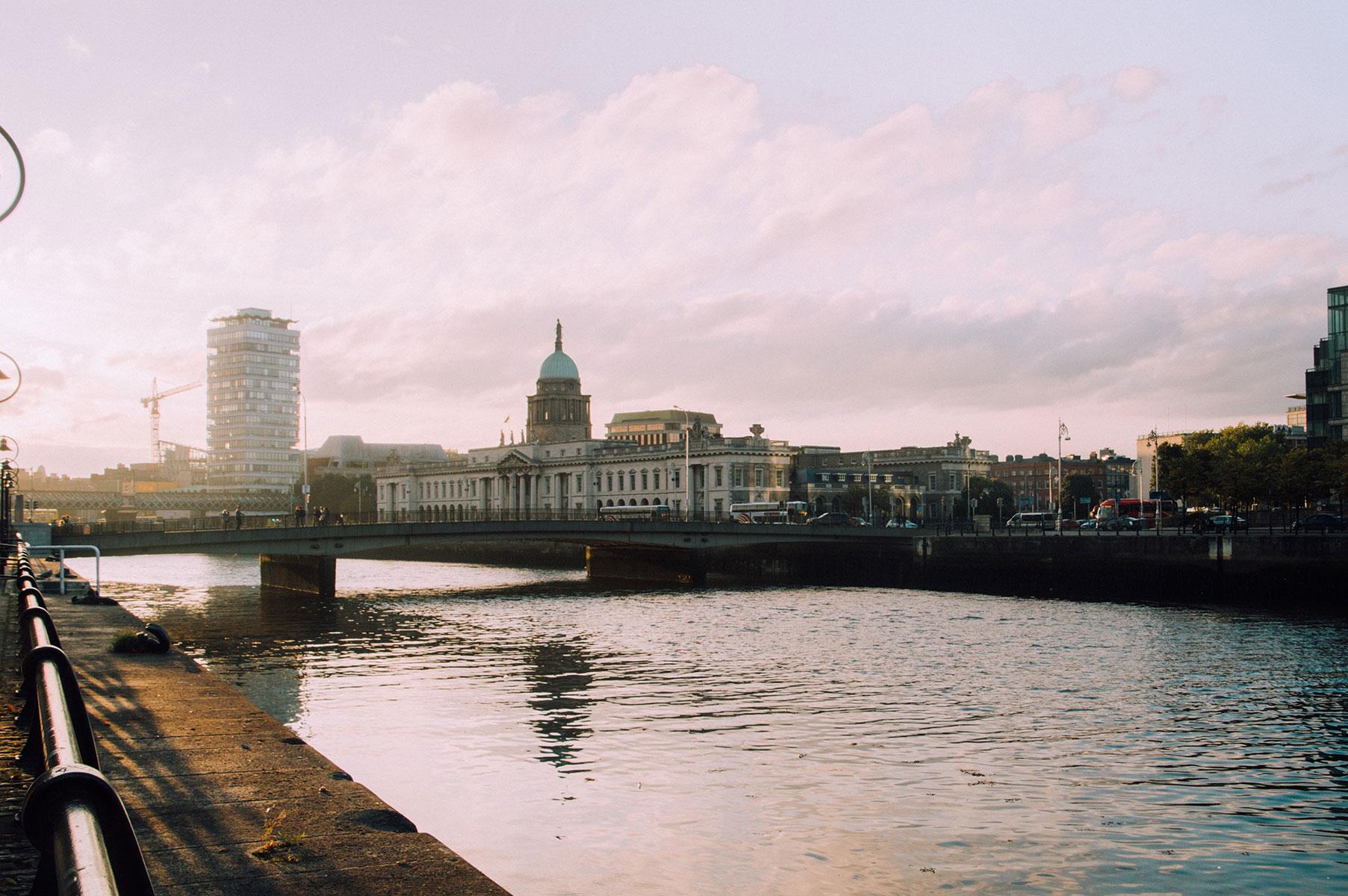 Coucher soleil Liffey Dublin