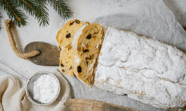 Stollen with evergreens