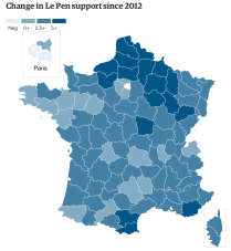 Change in Le Pen support since 2012