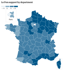 Le Pen support by department
