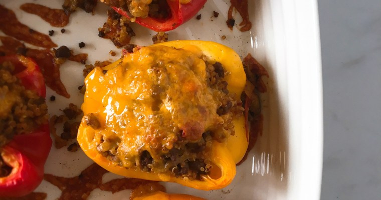 Southwest Beef and Quinoa Stuffed Peppers
