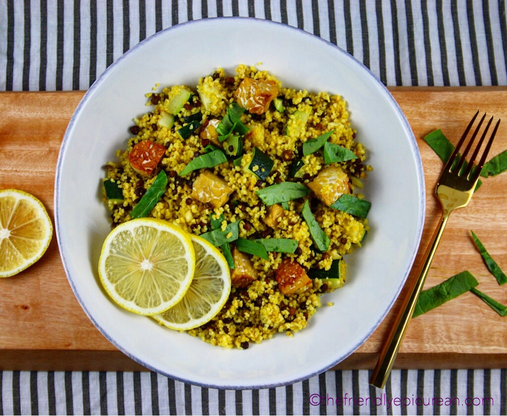 Easy Curried Couscous with Lentils, Zucchini, and Tempeh