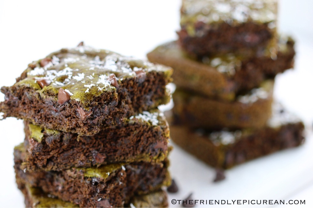 Matcha Chocolate Chip Brownies (vegan)