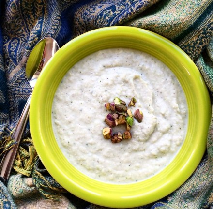 Cauliflower Pistachio Vegan Soup Recipe