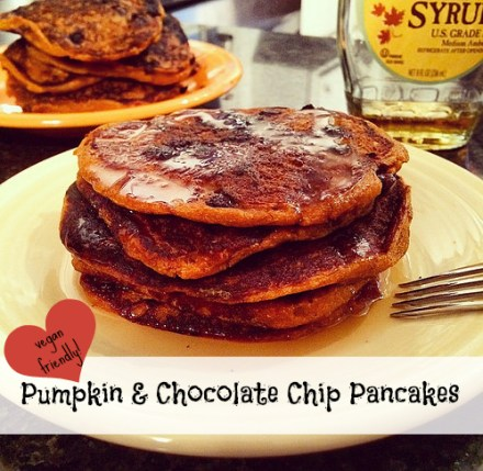 Vegan Pumpkin Chocolate Chip Pancakes Recipe