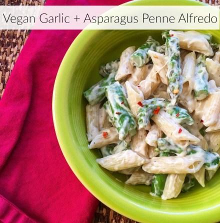 Vegan Garlic + Asparagus Penne Alfredo