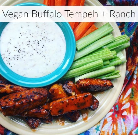 Vegan Buffalo Tempeh Wings + Ranch