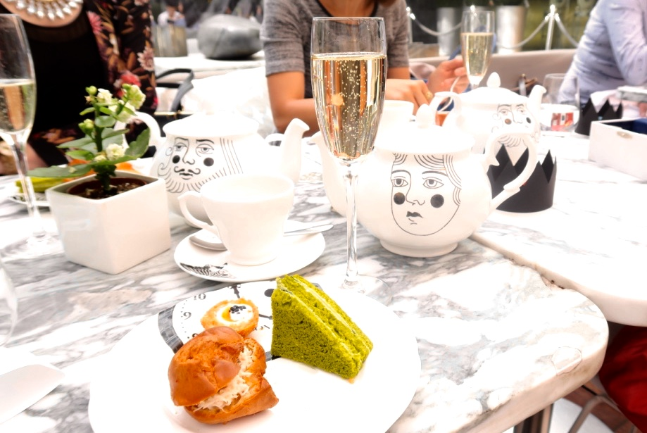 bubbles at the best afternoon tea in London at Sanderson hotel