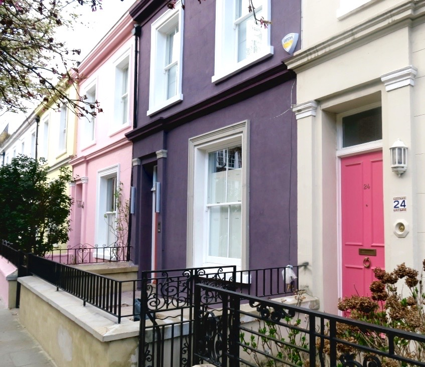 pink houses in Portobello road London