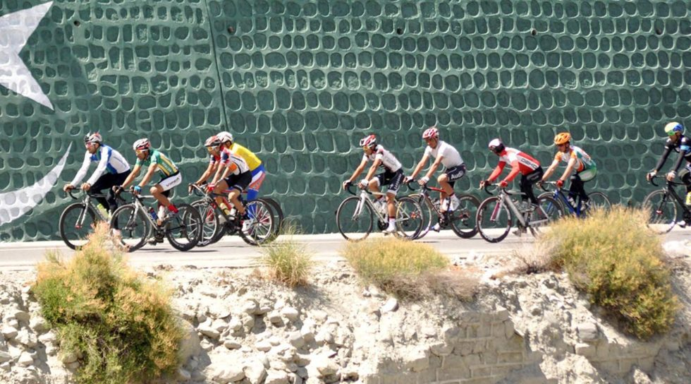 Pic11-067 GILGIT: May 12 – Cyclists pedal towards during second stage of First international cycling race, Tour de Khunjerab, from Rakaposhi to Sost. The participants cover the distance of 71 kilometres in the second stage.  ONLINE PHOTO