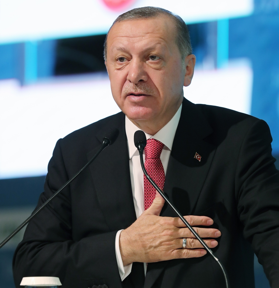 ISTANBUL, TURKEY - NOVEMBER 28 : President of Turkey, Recep Tayyip Erdogan speaks at the 34th session of the Standing Committee for Economic and Commercial Cooperation of the Organization of the Islamic Cooperation (COMCEC) at Istanbul Congress Center on November 28, 2018 in Istanbul, Turkey. ( Cem Öksüz - Anadolu Agency )