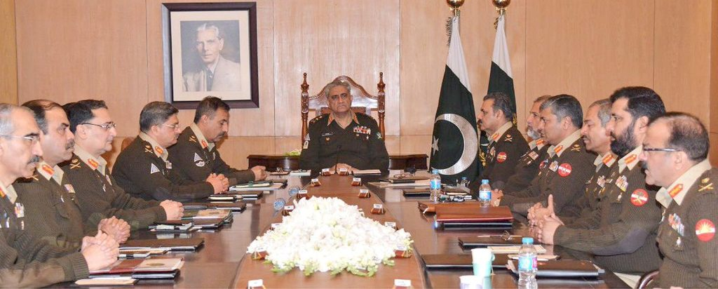 RAWALPINDI: Chief of Army Staff General Qamar Javed Bajwa presided over the 216th Corps Commanders' Conference at Army's General Headquarters. INP PHOTO