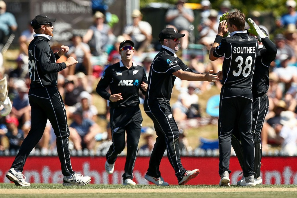 NELSON, NEW ZEALAND - JANUARY 08:  Tim Southee of New Zealand celebrates after taking the wicket of Dhananjaya de Silva of Sri Lanka during game three of the One Day International match between New Zealand and Sri Lanka at Saxton Field on January 8, 2019 in Nelson, New Zealand.  (Photo by Hagen Hopkins/Getty Images)