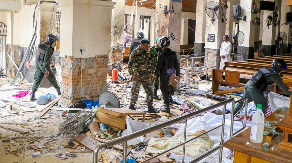 COLOMBO, SRI LANKA - APRIL 21: Security forces inspect the St. Anthony's Shrine after an explosion hit St Anthony's Church in Kochchikade in Colombo, Sri Lanka on April 21, 2019. According to reports at least 50 people killed and over 200 injured in blasts during the Easter Sunday service at churches and hotels as worshippers attended Easter services. ( Chamila Karunarathne - Anadolu Agency )