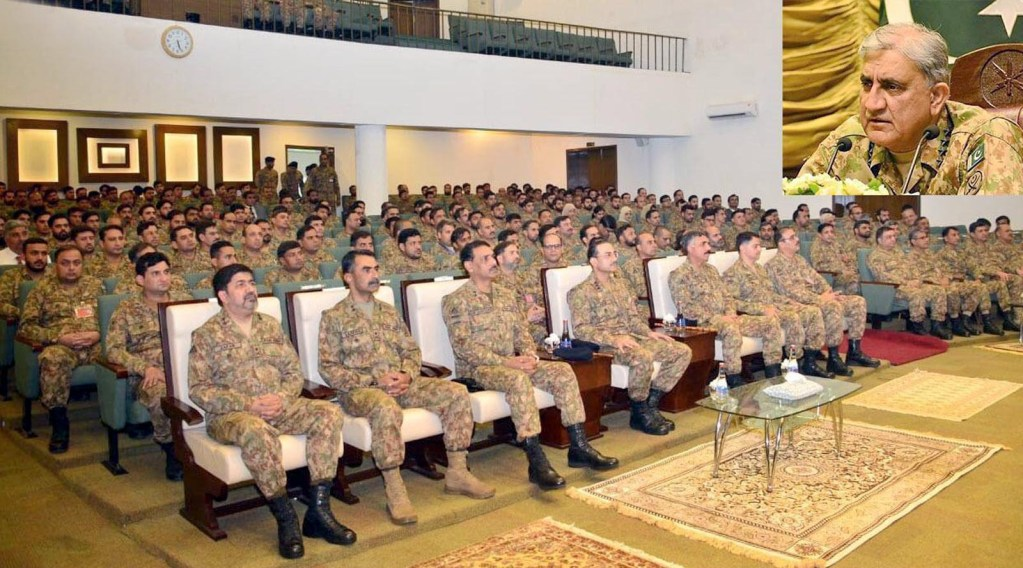 GUJRANWALA: Chief of Army Staff (COAS) General Qamar Javed Bajwa speaking on Friday during visited HQ Gujranwala Corps. INP