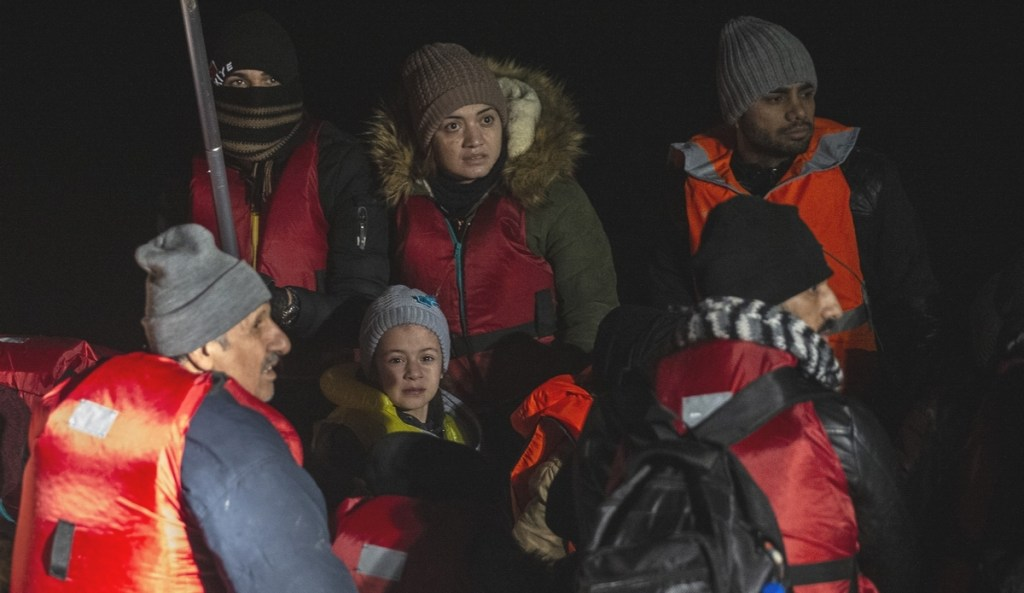 EDIRNE, TURKEY - DECEMBER 13: 37 irregular migrants are seen after they were rescued from death by members of Turkish Coast Guard while the boat carrying irregular migrants to Greece took on water in Enez district of Edirne, Turkey on December 13, 2019. ( Gökhan Balcı - Anadolu Agency )
