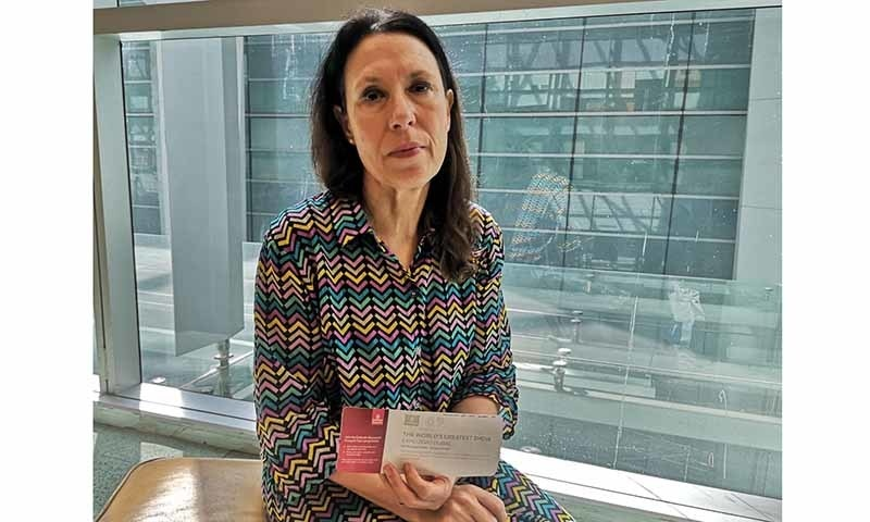 This photograph provided by Harpreet Upal, an accompanying aide of British Member of Parliament Debbie Abrahams shows Abrahams at the Indira Gandhi International Airport in New Delhi, India, Monday, Feb. 17, 2020. Indian officials denied the British lawmaker entry on Monday after she landed at New Delhi's Indira Gandhi International Airport, according to Harpreet Upal, an accompanying aide. (Harpreet Upal via AP)