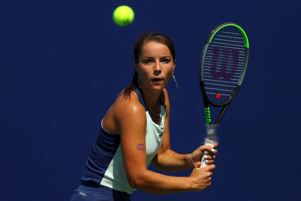 LONDON, ENGLAND - JULY 31:  Jodie Burrage of Union Jacks returns a backhand to Sarah Beth Grey of British Bulldogs during day five of the St. James's Place Battle of The Brits Team Tennis at National Tennis Centre on July 31, 2020 in London, England. (Photo by Julian Finney/Getty Images for Battle Of The Brits)