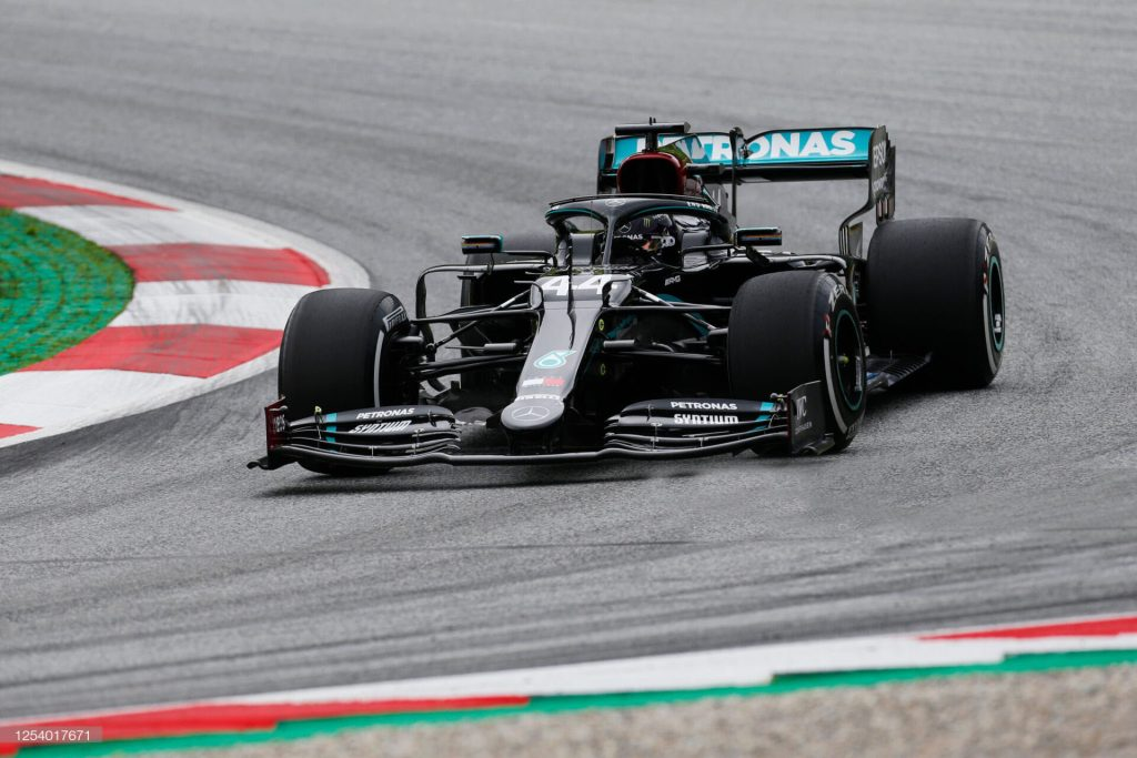 SPIELBERG, AUSTRIA - JULY 03: Lewis Hamilton of Great Britain driving the (44) Mercedes AMG Petronas F1 Team Mercedes W11 on track during practice for the F1 Grand Prix of Austria at Red Bull Ring on July 03, 2020 in Spielberg, Austria. (Photo by Darko Bandic/Pool via Getty Images)