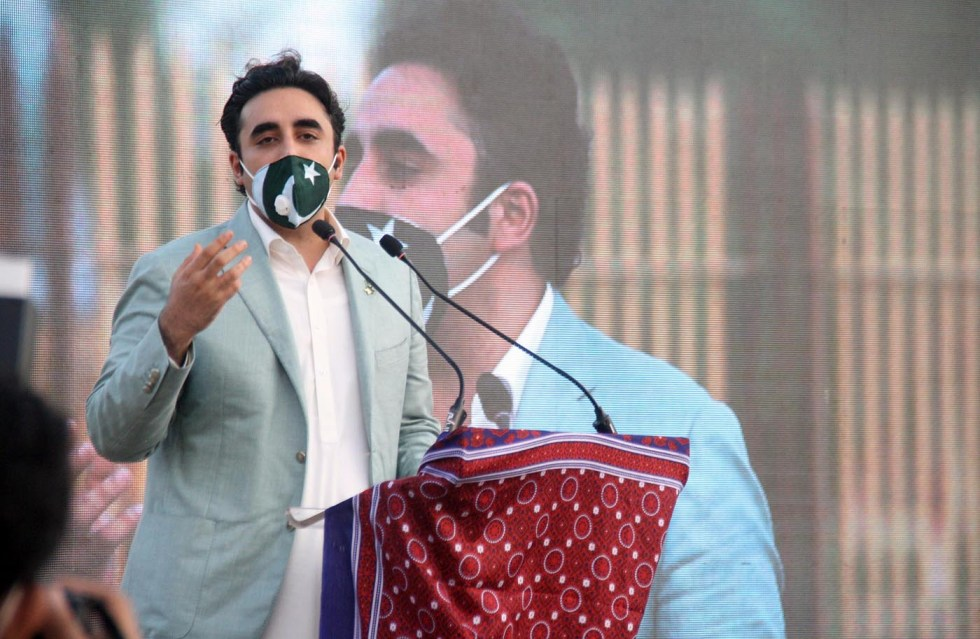 Pic14-068 KARACHI: Aug14 – Chairman of Pakistan Peoples Party Bilawal Bhutto Zardari addressing during inauguration ceremony of People's square in provincial capital. ONLINE PHOTO by Syed Asif Ali