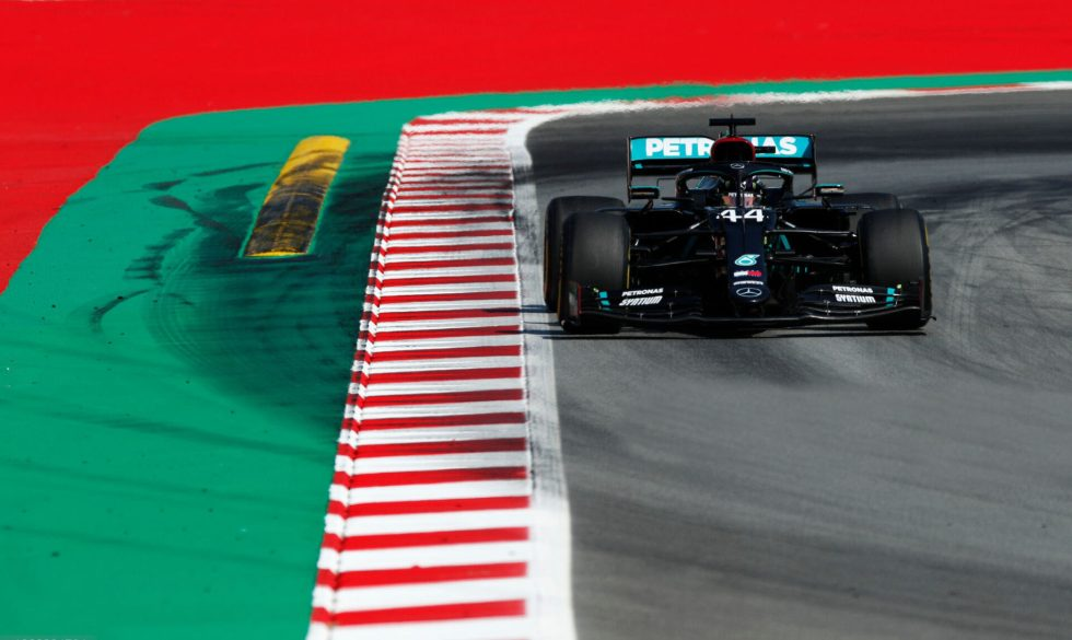 BARCELONA, SPAIN - AUGUST 14: Lewis Hamilton of Great Britain driving the (44) Mercedes AMG Petronas F1 Team Mercedes W11 on track during practice for the F1 Grand Prix of Spain at Circuit de Barcelona-Catalunya on August 14, 2020 in Barcelona, Spain. (Photo by Albert Gea/Pool via Getty Images)