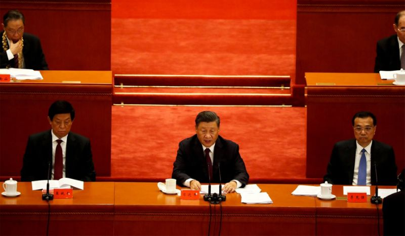 Chinese President Xi Jinping delivers a speech during a meeting to commend role models in China's fight against the coronavirus disease (COVID-19) outbreak, at the Great Hall of the People in Beijing, China September 8, 2020. REUTERS/Carlos Garcia Rawlins