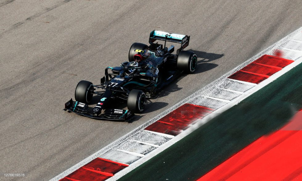 SOCHI, RUSSIA - SEPTEMBER 25: Valtteri Bottas of Finland driving the (77) Mercedes AMG Petronas F1 Team Mercedes W11 on track during practice ahead of the F1 Grand Prix of Russia at Sochi Autodrom on September 25, 2020 in Sochi, Russia. (Photo by Yuri Kochetkov - Pool/2020 Getty Images)