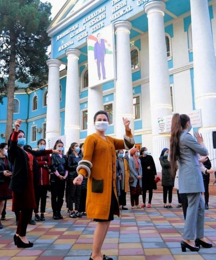 DUSHANBE Voters dance near a polling station on October 11, 2020. AP Photo.
