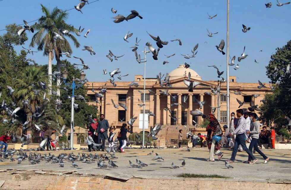 Pic29-044KARACHI: Nov29- A beautiful view of pigeons flying in front of Sindh High Court during sunny day in provincial capital. ONLINE PHOTO by Anwar Abbas
