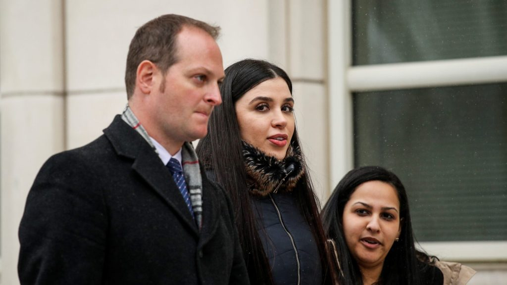 """Emma Coronel Aispuro,(C) wife of Joaquin 'El Chapo' Guzman leaves from the US Federal Courthouse after a verdict was announced at the trial for Joaquin 'El Chapo' Guzman on February 12, 2019 in Brooklyn, New York. - Mexican mobster Joaquin """"El Chapo"""" Guzman was found guilty Tuesday by a New York jury of crimes spanning a quarter of a century as head of one of the world's most powerful drugs gangs. The 61-year-old former head of the Sinaloa cartel -- famed for his brazen escapes from Mexican prisons -- faces a possible life sentence after being convicted of smuggling tons of cocaine, heroin, methamphetamine and marijuana into the United States.He was also found guilty of money laundering and illegal weapons possession charges. (Photo by Kena Betancur / AFP) (Photo credit should read KENA BETANCUR/AFP via Getty Images)"""