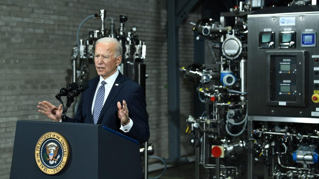 US President Joe Biden speaks at the Covid-19 vaccine Pfizer Kalamazoo Manufacturing Site on February 19, 2021, in Portage, Michigan. (Photo by Brendan Smialowski / AFP) (Photo by BRENDAN SMIALOWSKI/AFP via Getty Images)