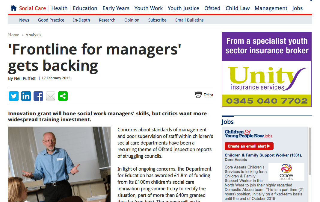 'Frontline for managers' gets backing