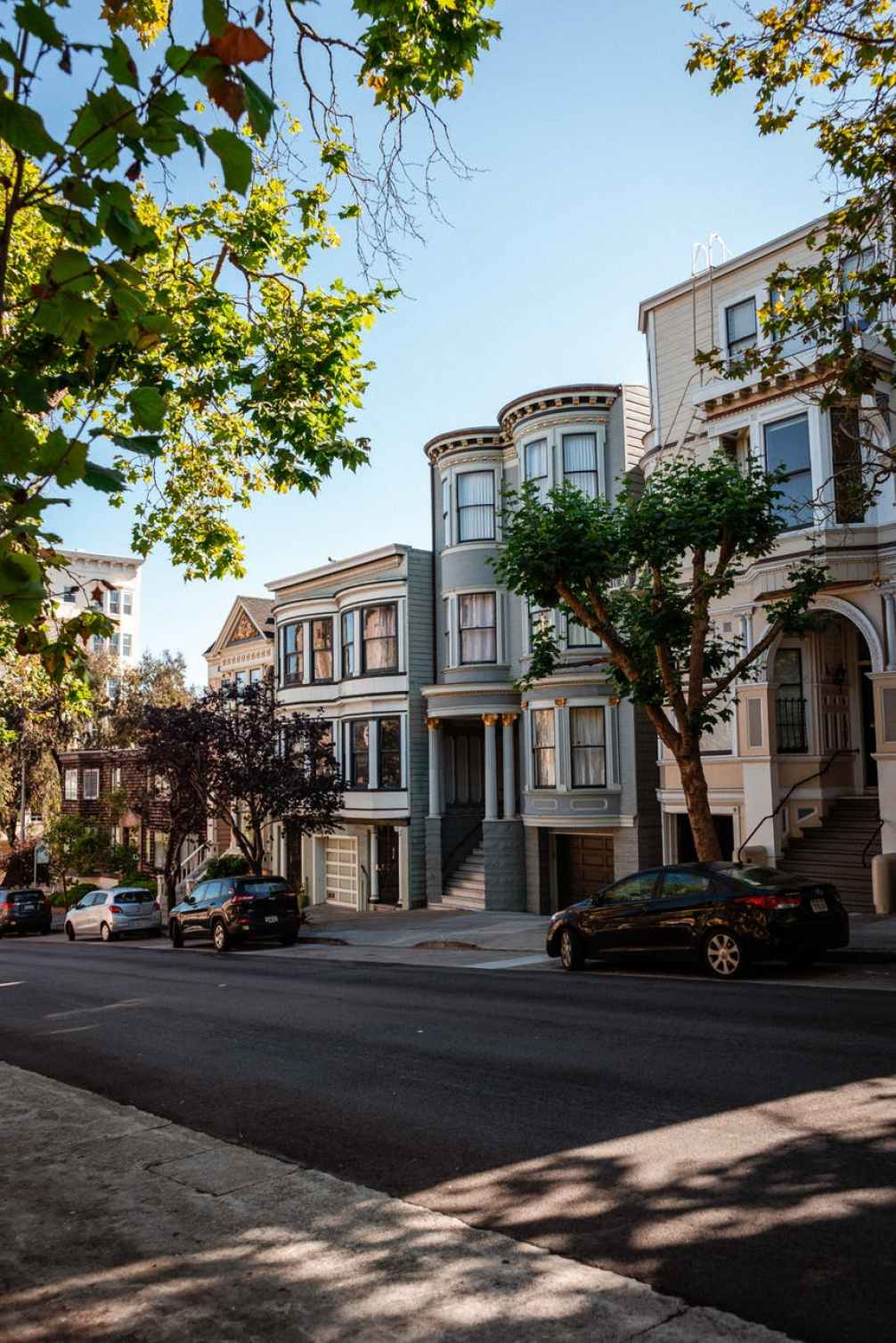 residential district with elegant houses on sunny day