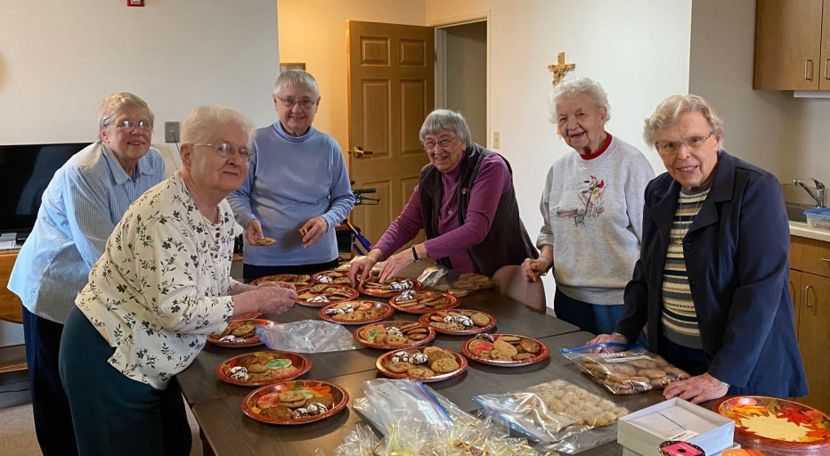 Sisters at Salvatorian Sr Residence packaging homemade cookies for Asst Living & Skilled Care