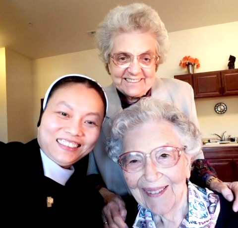 Sister Bernardin Deutsch with longtime colleague, the late Sister Celestine Schall, and former student, Sister Thuy Tran, LHC.